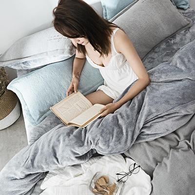 2019新款-海藻绒绣花保暖四件套 床单款四件套1.5m(5英尺)床 季风灰