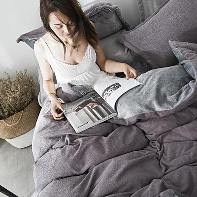 2019新款-海藻绒绣花保暖四件套 床单款四件套1.5m(5英尺)床 暮颜紫