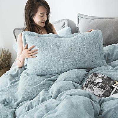 2019新款-海藻绒绣花保暖四件套 床单款四件套1.5m(5英尺)床 清茶绿