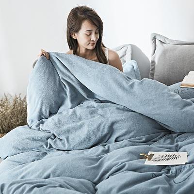 2019新款-海藻绒绣花保暖四件套 床单款四件套1.5m(5英尺)床 石青蓝