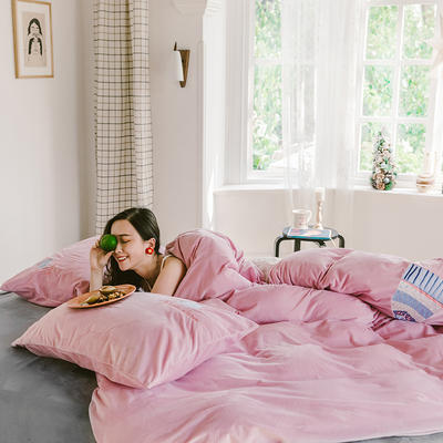 2019新款-考拉绒四件套 床单款三件套1.2m(4英尺)床 佳人粉