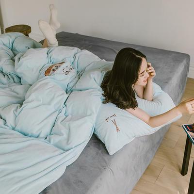 2019新款-考拉绒四件套 床单款三件套1.2m(4英尺)床 清澈蓝