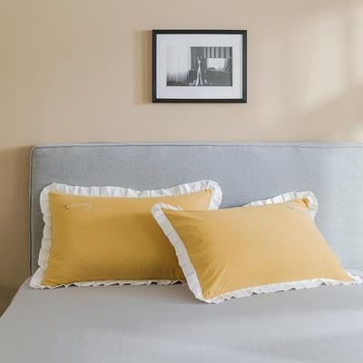2019新款-全棉水洗棉韩版单枕套 48cmX74cm 柠檬白白边