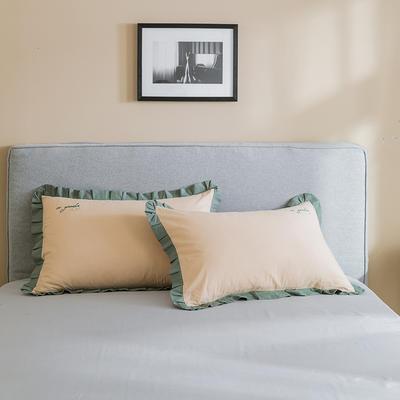 2019新款-全棉水洗棉韩版单枕套 48cmX74cm 牛油果绿绿边