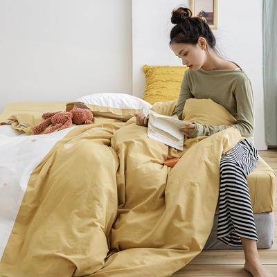 2019新款-全棉水洗棉韩版四件套 床单款三件套1.2m(4英尺)床 爱心-黄