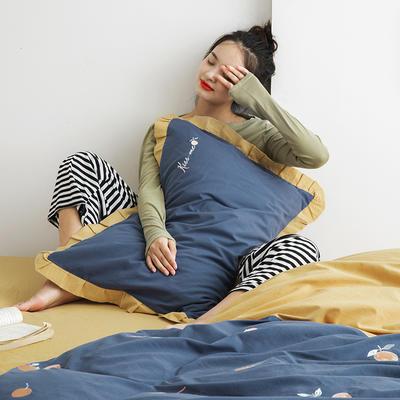 2019新款-全棉水洗棉韩版四件套 床单款三件套1.2m(4英尺)床 橘子