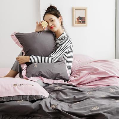 2019新款-全棉水洗棉韩版四件套 床单款三件套1.2m(4英尺)床 山茶花
