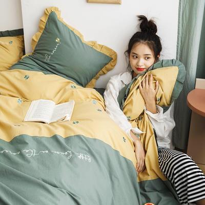 2019新款-全棉水洗棉韩版四件套 床单款三件套1.2m(4英尺)床 四叶草