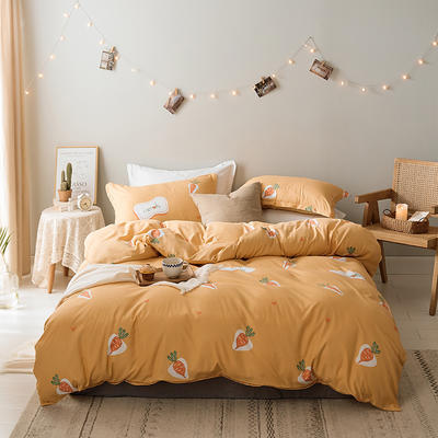 2019新款-水洗亲肤棉四件套 床单款三件套1.2m(4英尺)床 胡萝卜