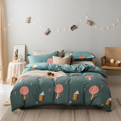 2019新款-水洗亲肤棉四件套 床单款三件套1.2m(4英尺)床 蘑菇屋