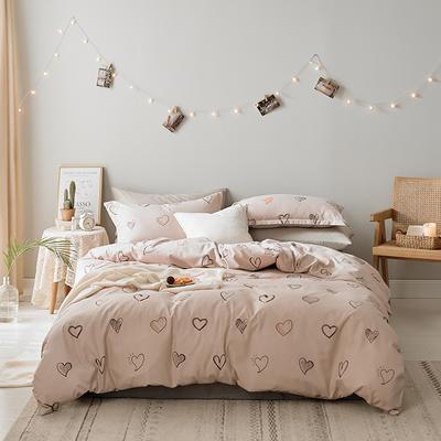 2019新款-水洗亲肤棉四件套 床单款三件套1.2m(4英尺)床 心相印