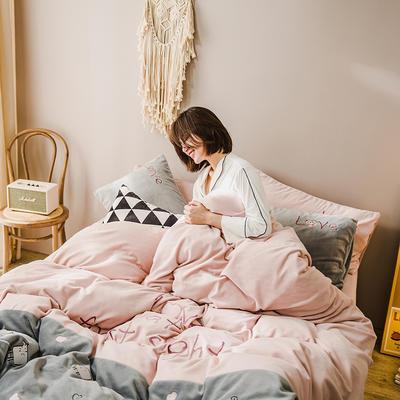 2019新款-牛奶绒四件套 床单款三件套1.2m(4英尺)床 爱心奶牛-粉灰