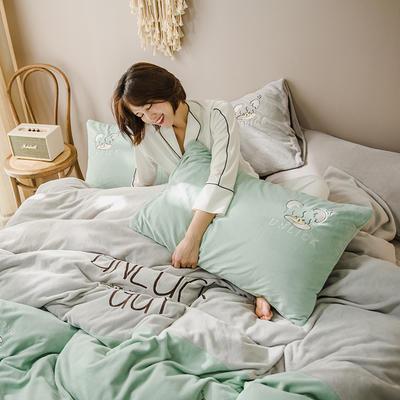 2019新款-牛奶绒四件套 床单款三件套1.2m(4英尺)床 荷包蛋-蓝灰