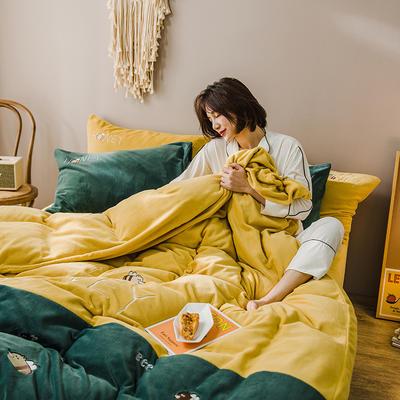 2019新款-牛奶绒四件套 床单款三件套1.2m(4英尺)床 蜜蜂-黄绿