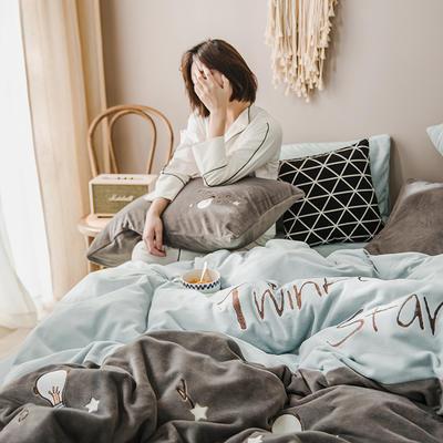 2019新款-牛奶绒四件套 床单款三件套1.2m(4英尺)床 星星点灯-深灰蓝