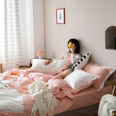 2020新款-全棉绣花水洗韩版花边四件套 床单款三件套1.2m(4英尺)床 爱心粉