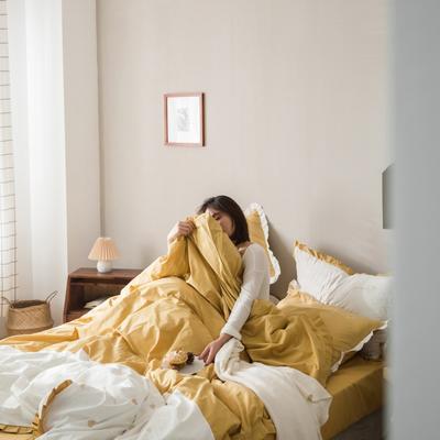 2020新款-全棉绣花水洗韩版花边四件套 床单款三件套1.2m(4英尺)床 爱心黄