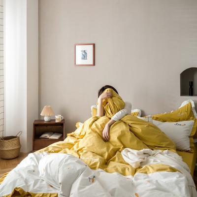 2020新款-全棉绣花水洗韩版花边四件套 床单款三件套1.2m(4英尺)床 胡萝卜