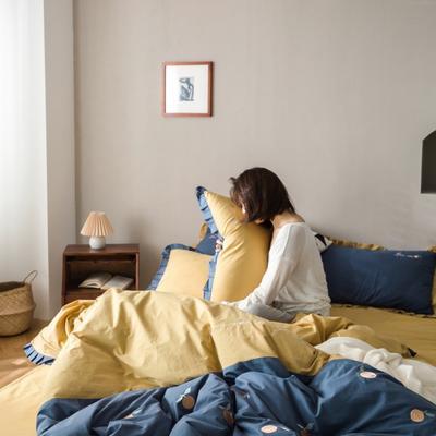 2020新款-全棉绣花水洗韩版花边四件套 床单款三件套1.2m(4英尺)床 橘子