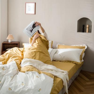 2020新款-全棉绣花水洗韩版花边四件套 床单款三件套1.2m(4英尺)床 柠檬