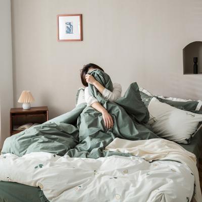 2020新款-全棉绣花水洗韩版花边四件套 床单款三件套1.2m(4英尺)床 牛油果-白