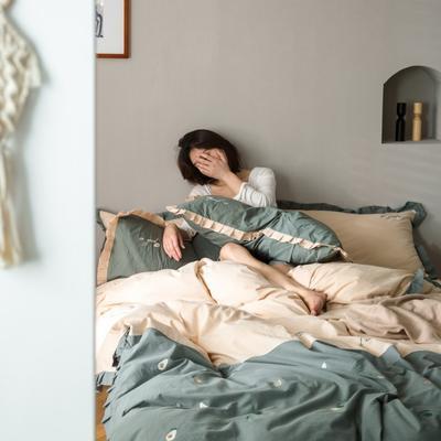 2020新款-全棉绣花水洗韩版花边四件套 床单款三件套1.2m(4英尺)床 牛油果-绿