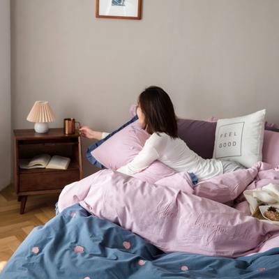 2020新款-全棉绣花水洗韩版花边四件套 床单款三件套1.2m(4英尺)床 水蜜桃-蓝