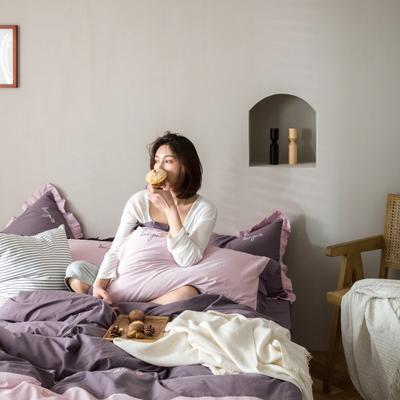 2020新款-全棉绣花水洗韩版花边四件套 床单款三件套1.2m(4英尺)床 水蜜桃-紫