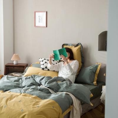 2020新款-全棉绣花水洗韩版花边四件套 床单款三件套1.2m(4英尺)床 四叶草