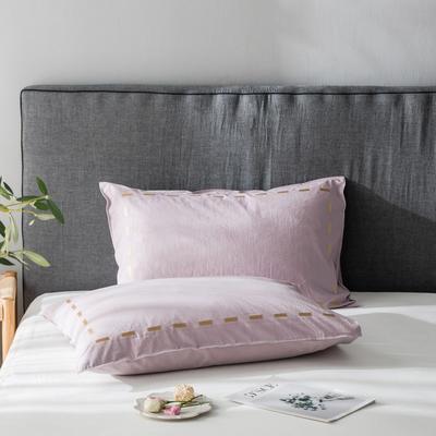 2019新款纯色绣花水洗棉-单品枕套 48cmX74cm/个 暮光-紫