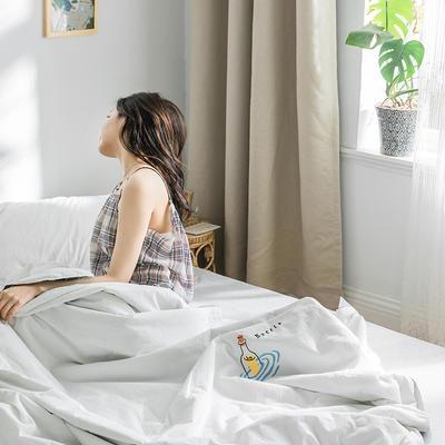 2020新款-全棉水洗棉绣花夏被 200X230cm 贵族白