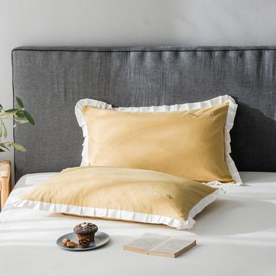 2020新款-全棉水洗棉绣花夏被单枕套 48cmX74cm/一只 柠檬-白边