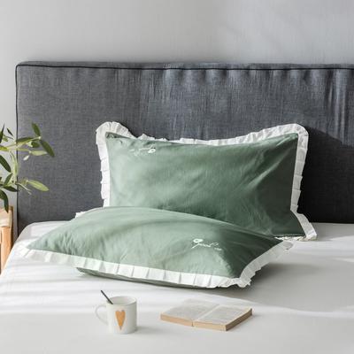 2020新款-全棉水洗棉绣花夏被单枕套 48cmX74cm/一对 牛油果绿底白边