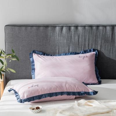 2020新款-全棉水洗棉绣花夏被单枕套 48cmX74cm/一对 水蜜桃粉底蓝边