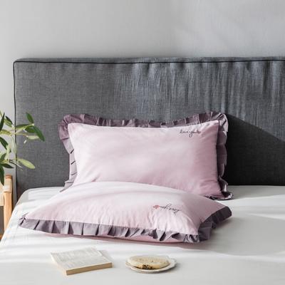 2020新款-全棉水洗棉绣花夏被单枕套 48cmX74cm/一对 水蜜桃粉底紫边
