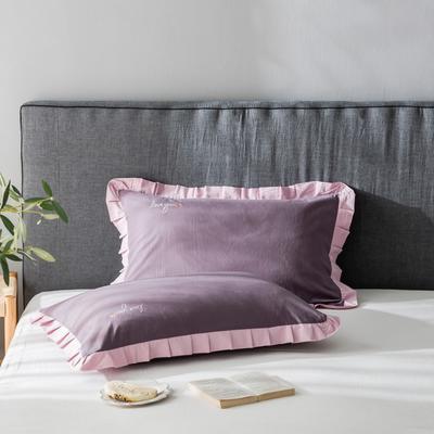 2020新款-全棉水洗棉绣花夏被单枕套 48cmX74cm/一对 水蜜桃紫底粉边