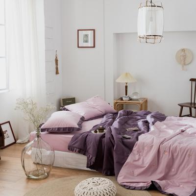 2020新款-全棉水洗棉绣花夏被 夏被150*200cm 水蜜桃-紫
