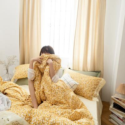 2020新款-全棉复古小碎花绣花系列四件套 床单款四件套1.5m(5英尺)床 蝴蝶花