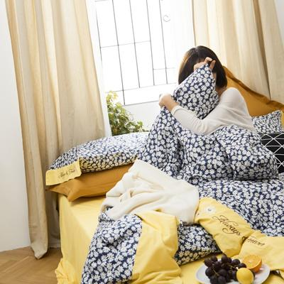 2020新款-全棉复古小碎花绣花系列四件套 床单款四件套1.5m(5英尺)床 太阳花
