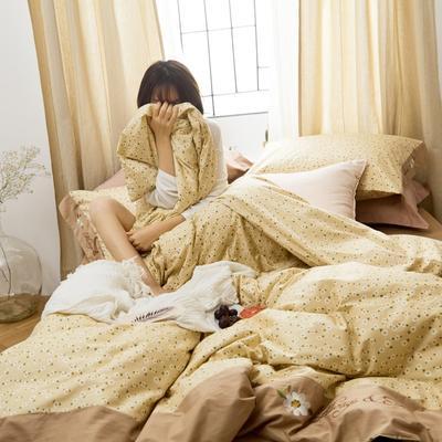 2020新款-全棉复古小碎花绣花系列四件套 床单款四件套1.5m(5英尺)床 小雏菊