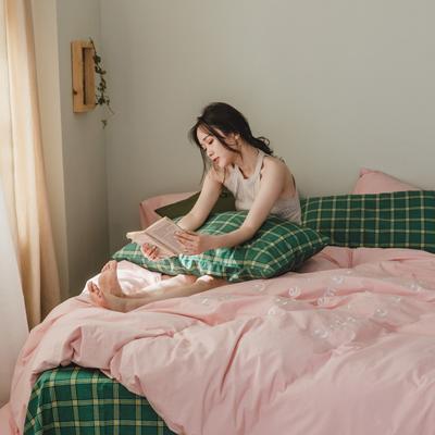 2020新款-水洗棉四件套素妍系列 床单款三件套1.2m(4英尺)床 素妍-粉