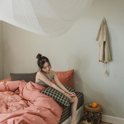 2020新款-水洗棉四件套素妍系列 床单款三件套1.2m(4英尺)床 素妍-红