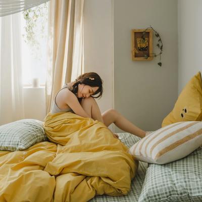 2020新款-水洗棉四件套素妍系列 床单款三件套1.2m(4英尺)床 素妍-黄