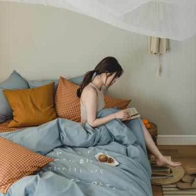 2020新款-水洗棉四件套素妍系列 床单款三件套1.2m(4英尺)床 素妍-蓝