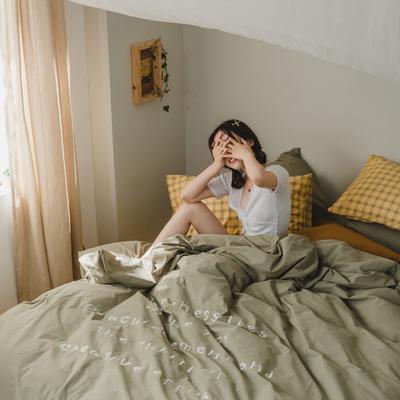 2020新款-水洗棉四件套素妍系列 床单款三件套1.2m(4英尺)床 素妍-绿