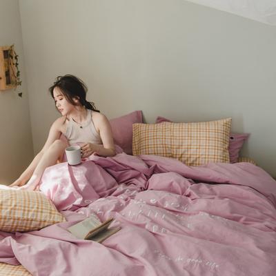 2020新款-水洗棉四件套素妍系列 床单款三件套1.2m(4英尺)床 素妍-紫