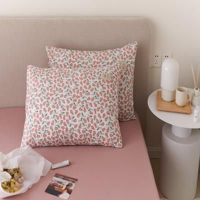 2021新款印花单品枕套 48*74/对 半夏-粉枕套