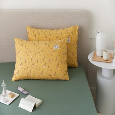 2021新款印花单品枕套 48*74/对 纯粹-黄枕套