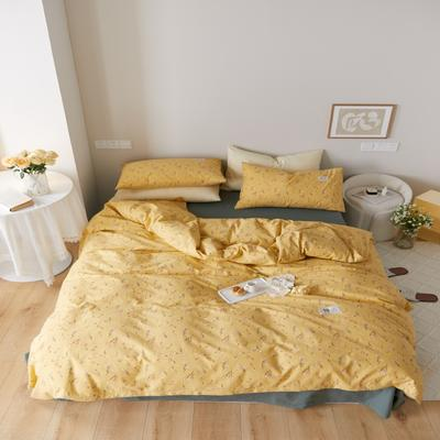 2021新款印花槿色套件 1.5m床单款四件套 纯粹-黄