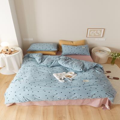 2021新款印花槿色套件 1.5m床单款四件套 繁星点点-蓝